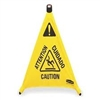 "Rubbermaid Commercial Multilingual ""Caution"" Pop-Up Safety Cone 3-Sided"
